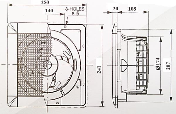 Kích thước quạt hút âm trần không nối ống gió Mitsubishi EX-15SCT