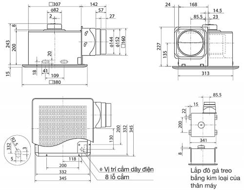 Kích thước quạt hút âm trần nối ống gió Mitsubishi VD-20ZP4T3