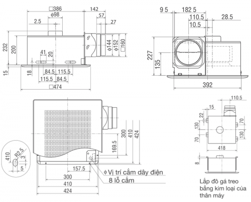 Quạt hút âm trần nối ống gió Mitsubishi VD-23ZP4T3