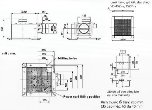 Kích thước Quạt hút âm trần nối ống gió Mitsubishi VD-15ZP4T5